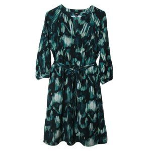 Mossimo green abstract paint print dress S
